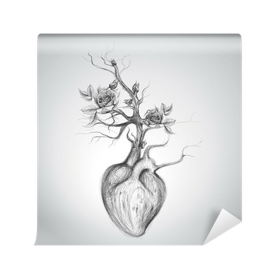 Drawing technology surreal. The heart is in