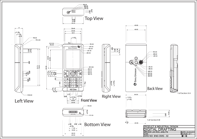 Drawing technology techno. Orthographic of mobile phone