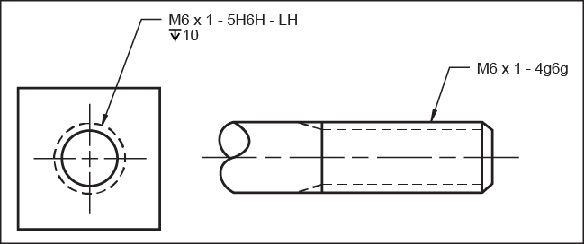 Metric threads . Tolerance drawing image library download