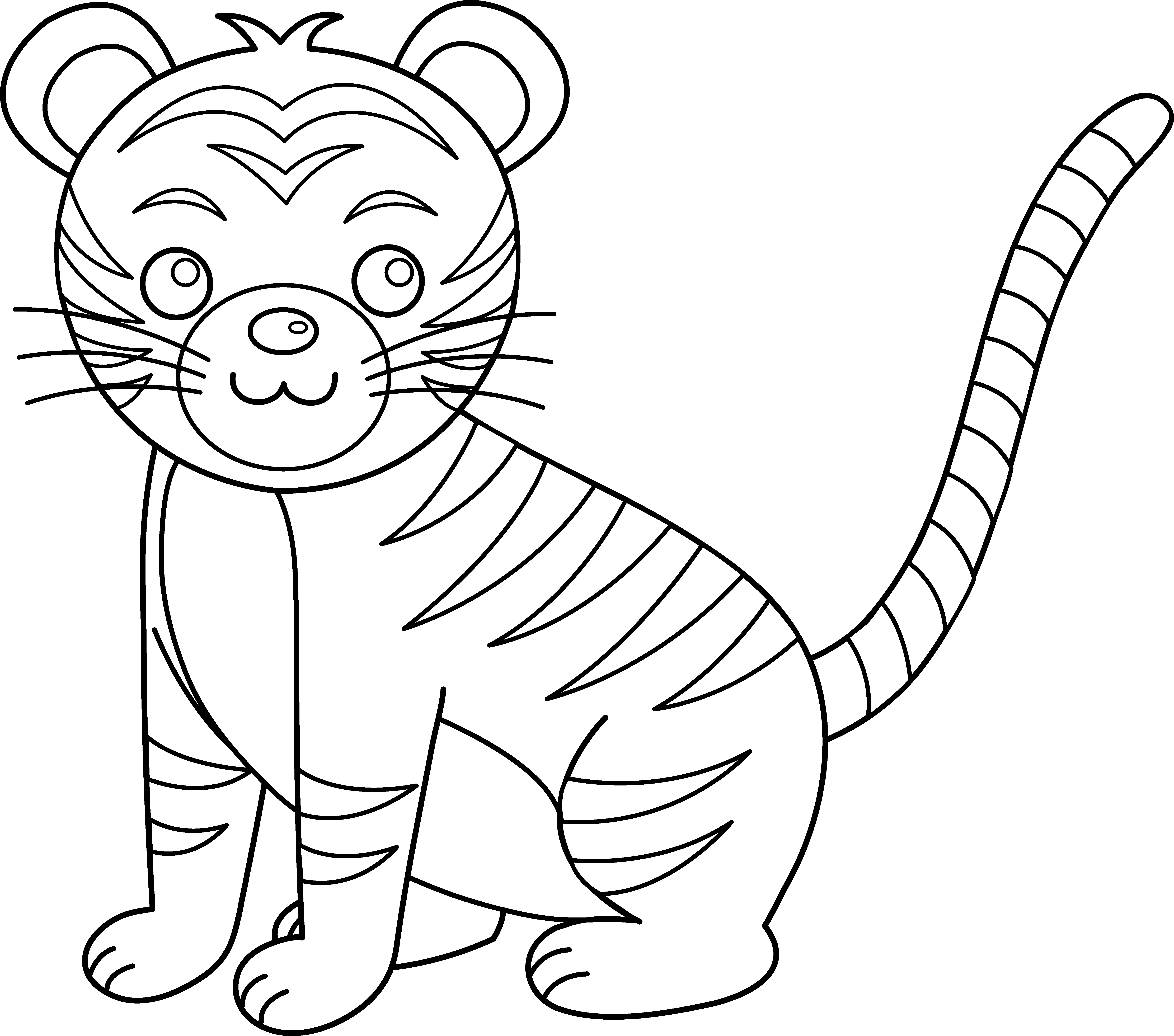 Drawing tigers coloring. Cute colorable tiger free