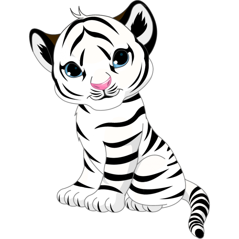 Drawing tigers cute baby. White tiger sticker stickers