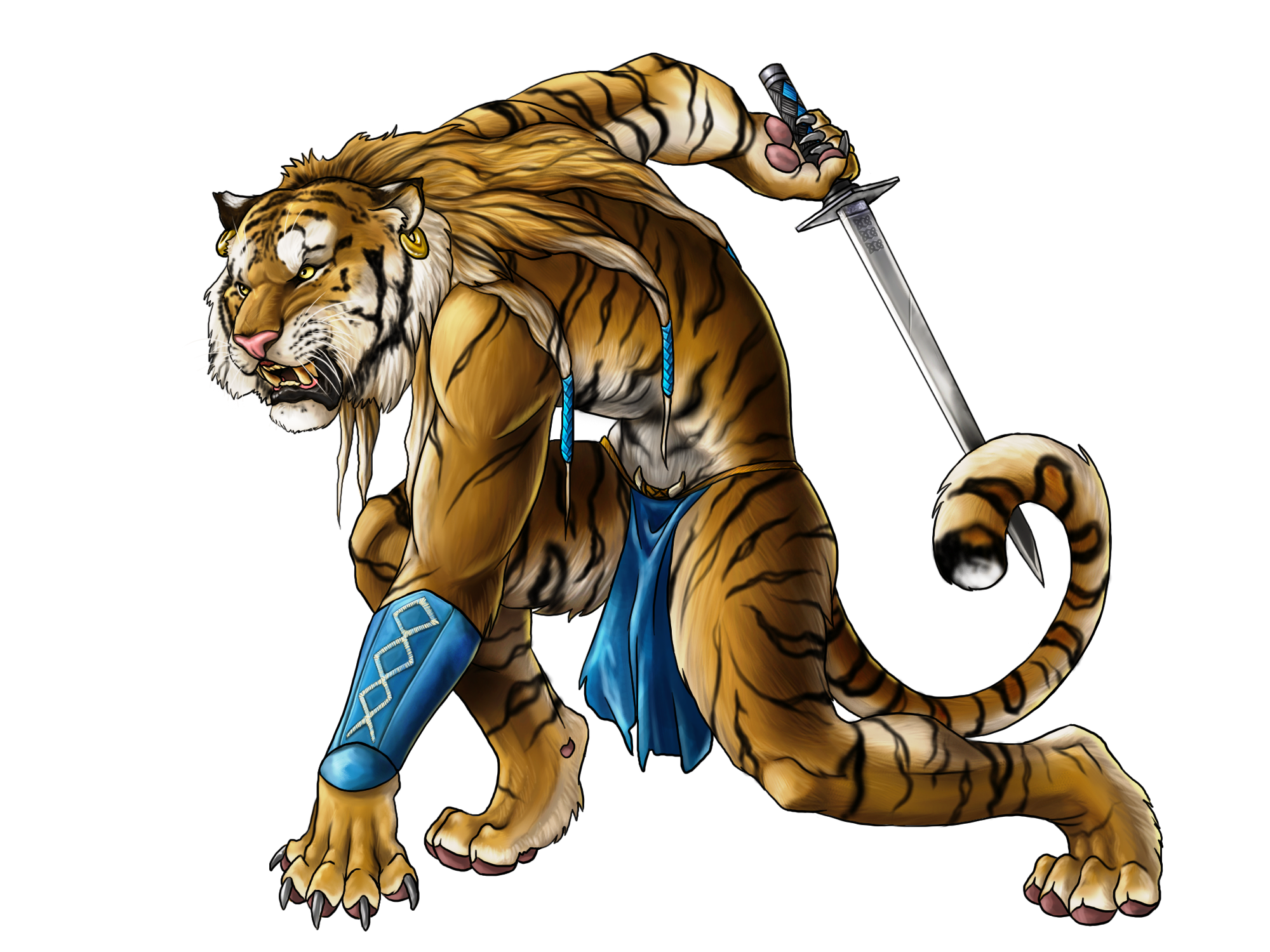 Drawing tigers humanoid. An anthropomorphic tiger warrior