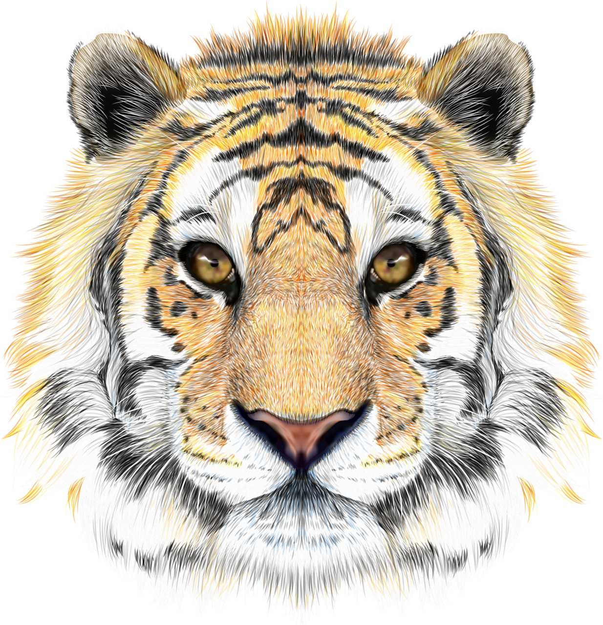 Pastels drawing tiger. Realistic art background vector