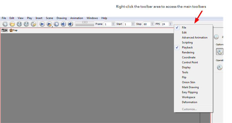 Drawing toolbars flash. Animate online help managing