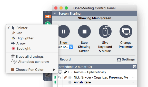 Presentation drawing panel. Make screen annotations with