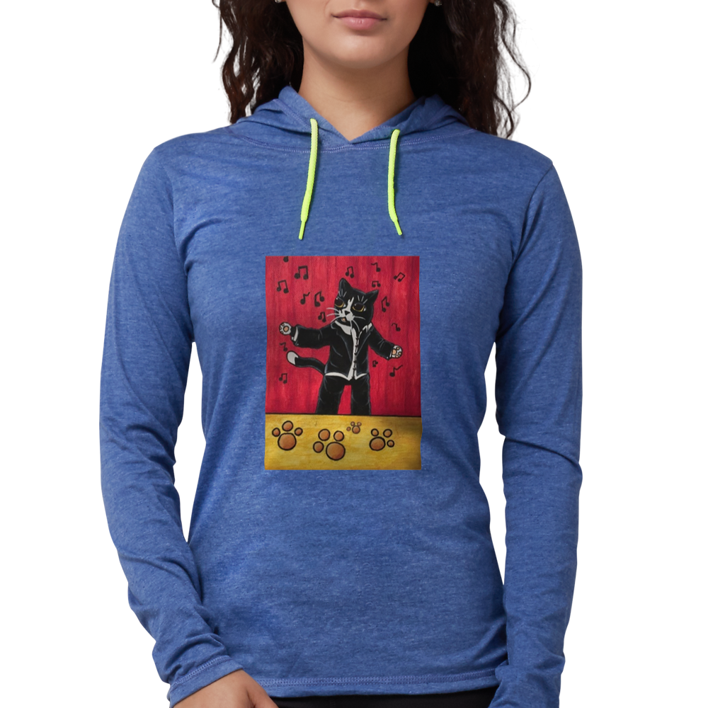 Drawing toons hoodie. Opera cat womens hooded