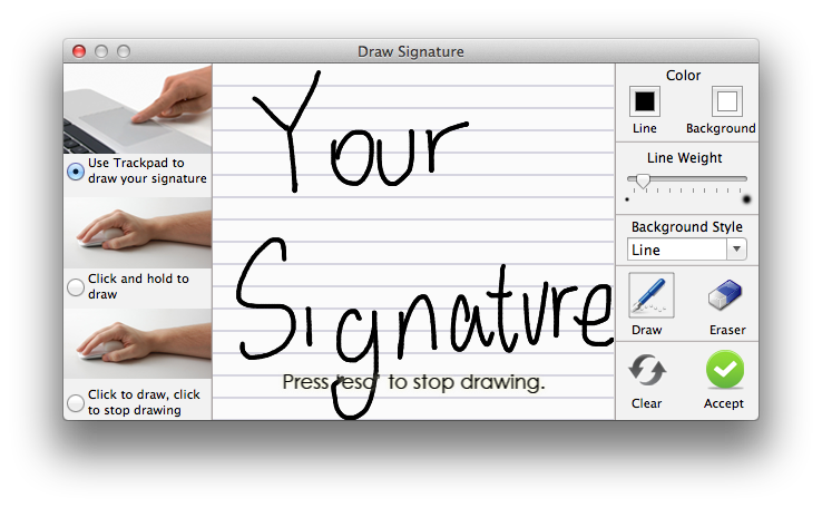 Drawing trackpad. How to sign pdf