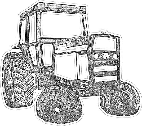 Drawing tractors black and white. Tractor transparent kids t