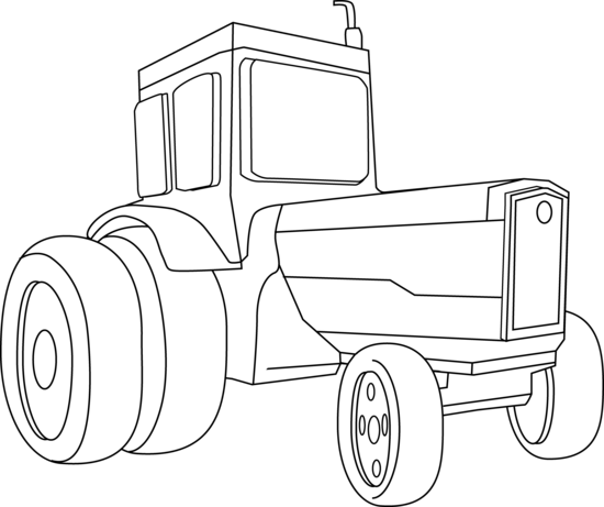 Drawing tractors coloring page. Tractor clipart black and