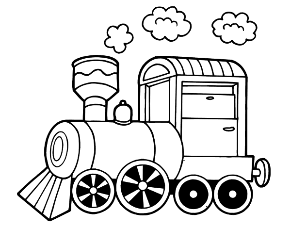 Drawing train. Locomotive transportation printable coloring