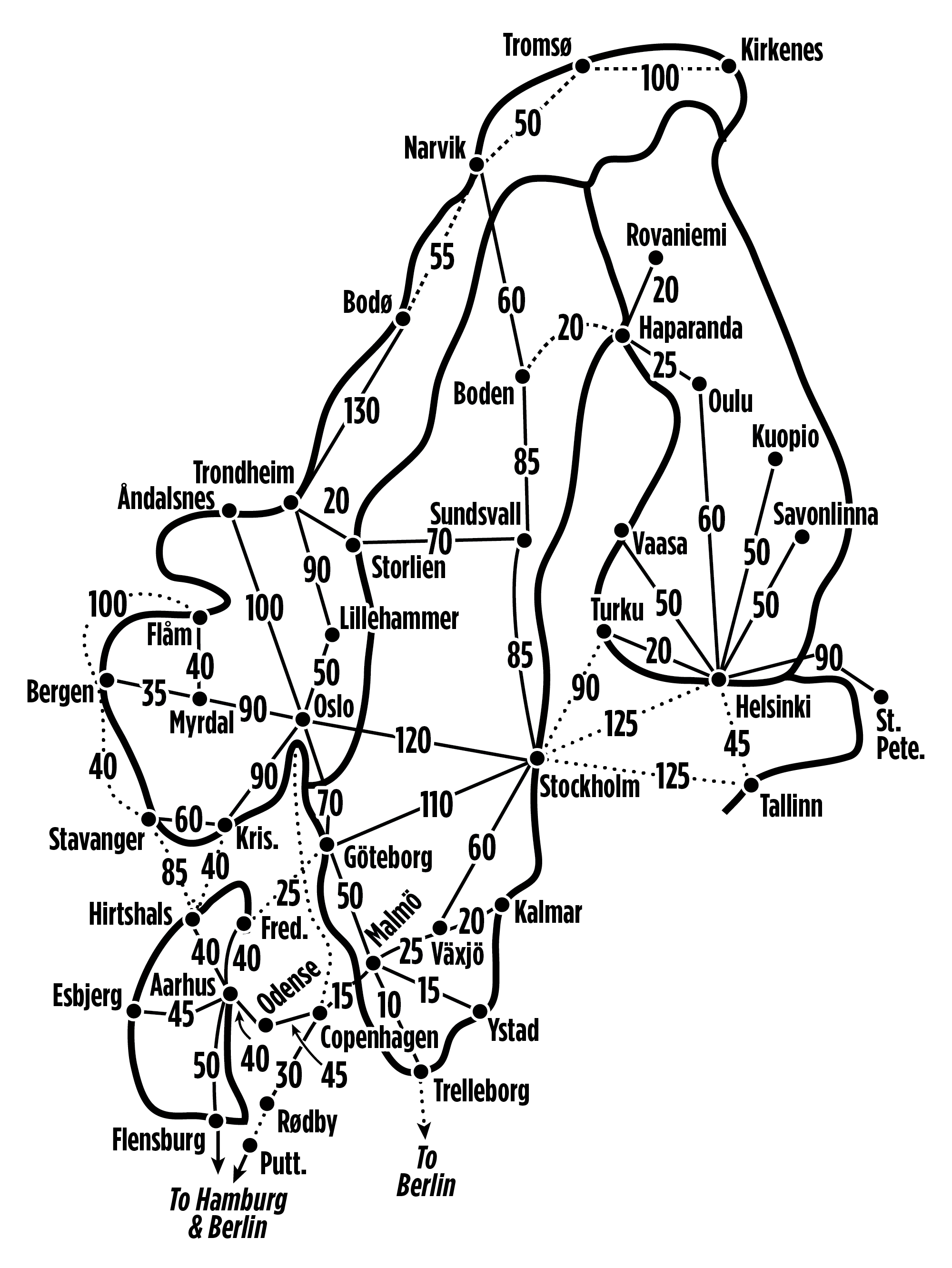 Point drawing railroad. Norway rail passes and