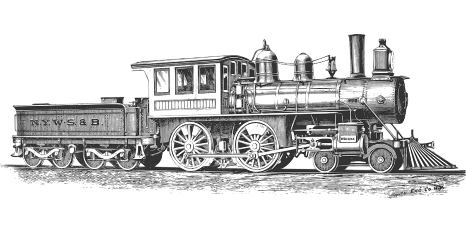 Drawing wheels steam locomotive drive. Free image on pixabay