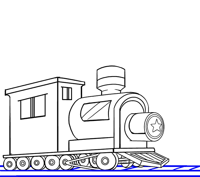 Drawing train rail engine. How to draw a