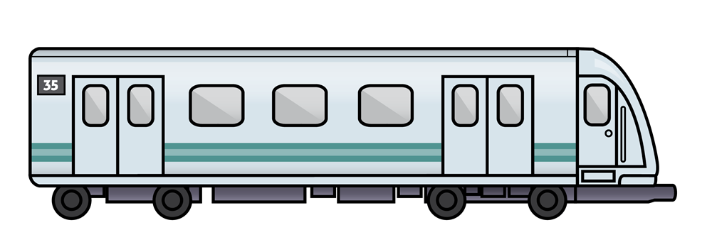 Drawing train side view. Collection of clipart