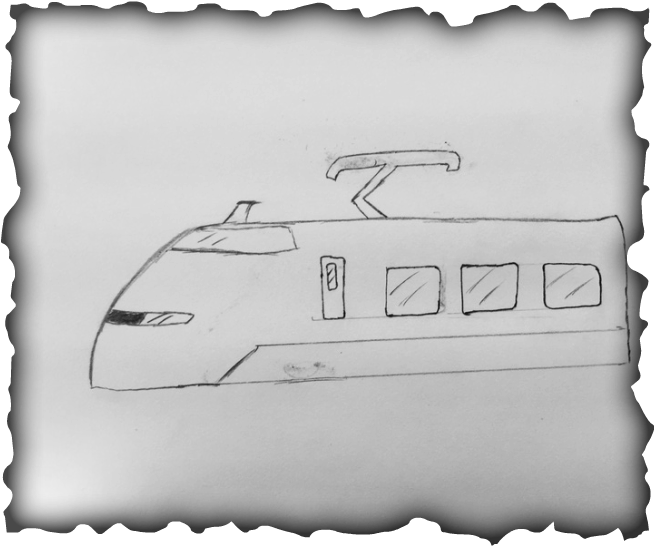 Drawing train high speed. Sketches and cad drawings