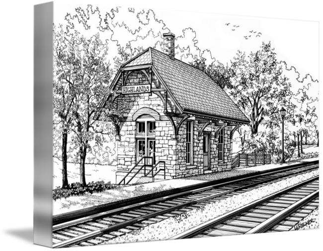 Drawing train coal. Highland station by mary
