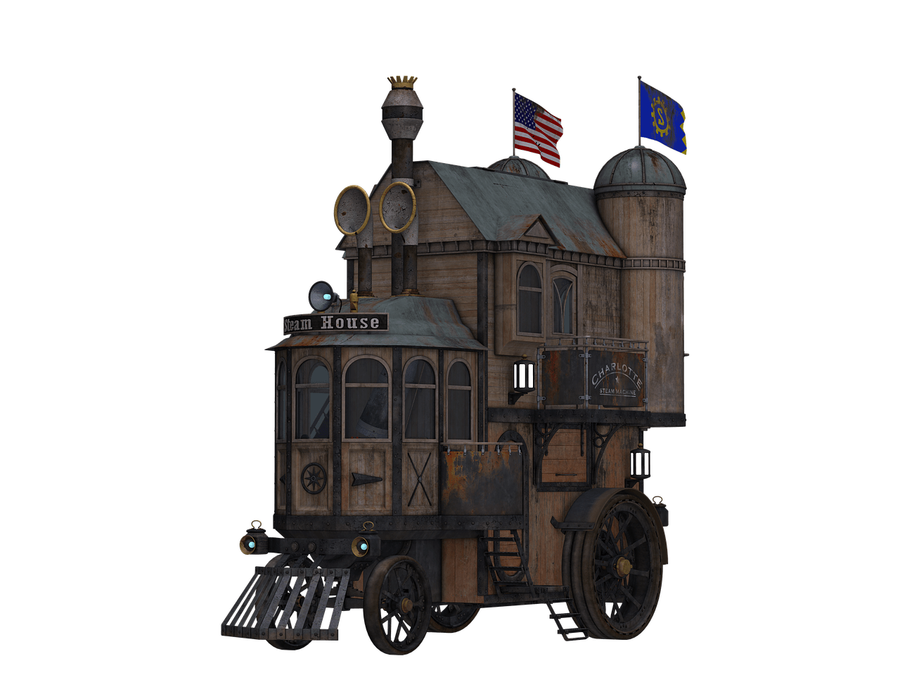 Drawing train steampunk. Locomotive side view transparent