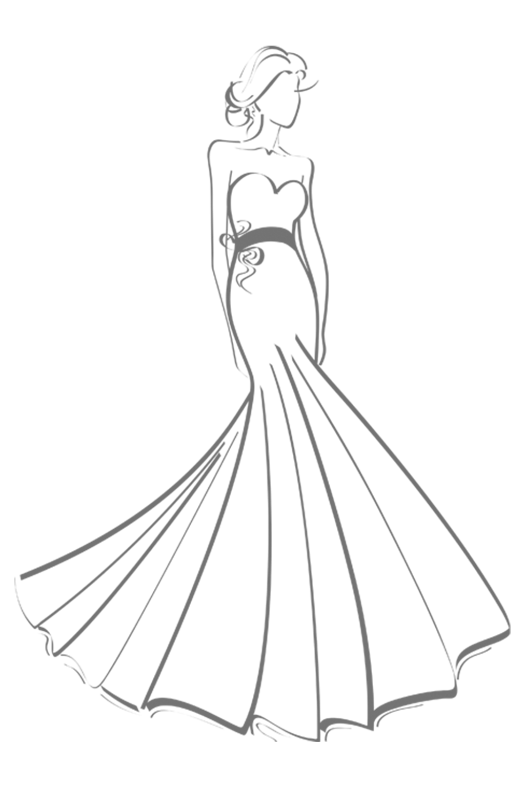 Drawing transparent dress. Collection of wedding
