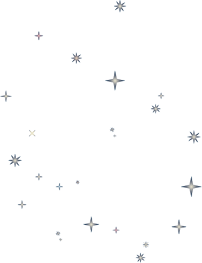 Drawing transparent space. Collection of stars