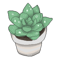 Drawing transparent succulent. Pixel baby by iguanodoo