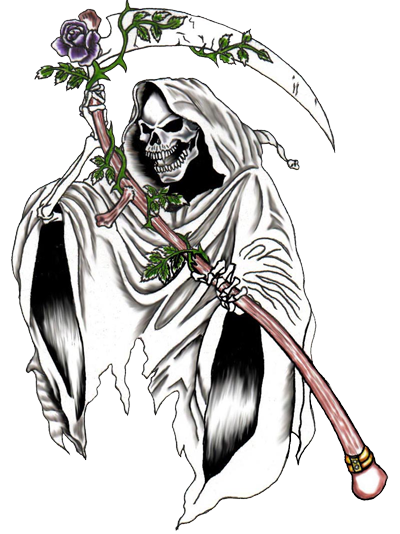 Old drawing grim reaper. Tattoos designs high quality