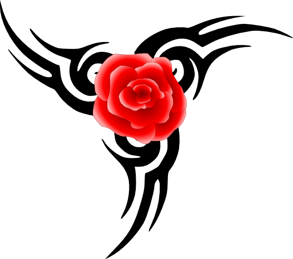 Drawing tribals rose. Tribal tattoo with clip