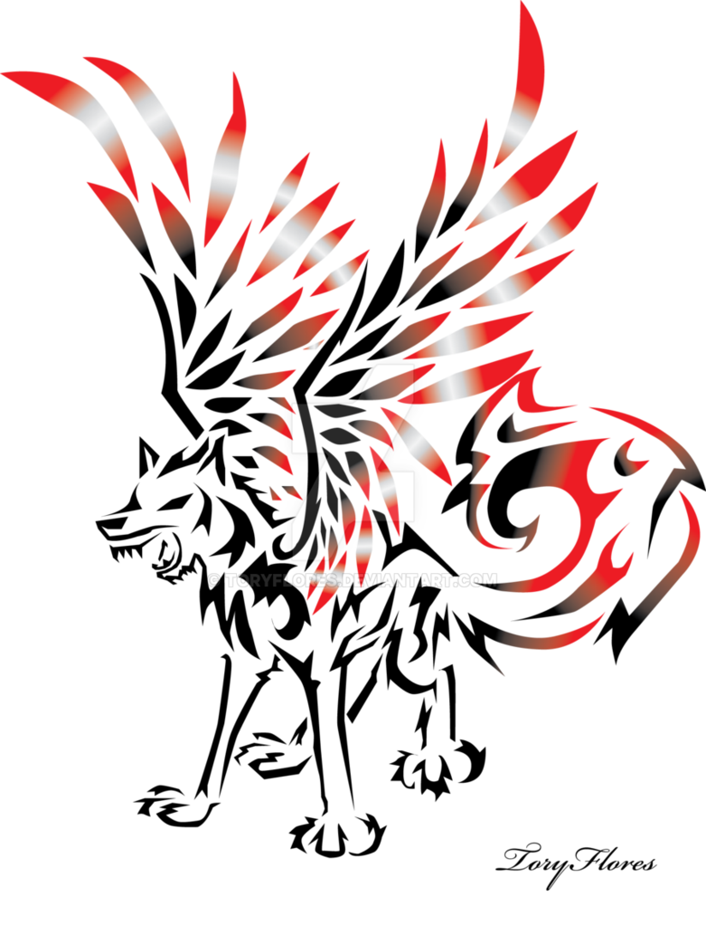 Drawing tribals wing. Winged tribal wolf by