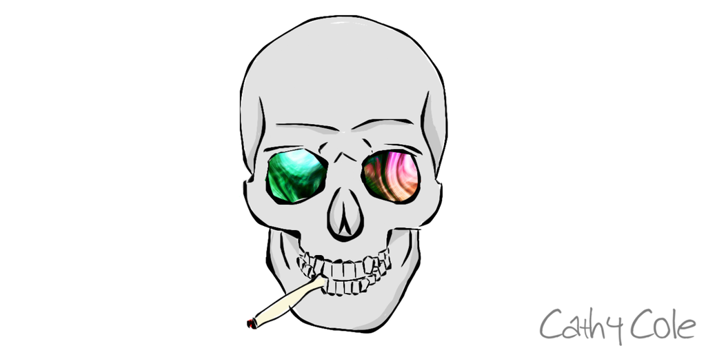 Drawing trippy face. Eyed smoking skull by