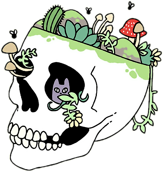 Skull aesthetic tumblr plants. Drawing trippy grunge clip art library download