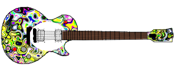 Drawing trippy guitar. Buckethead design album on