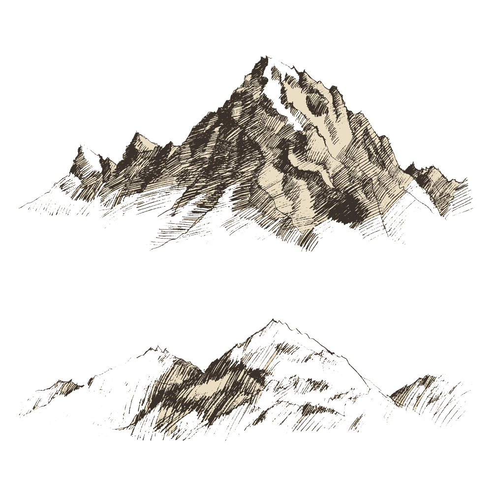 Drawing trippy mountain. Sketch scenery transprent png