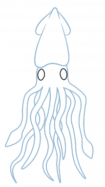 Drawing trippy sea. Collection of free squid