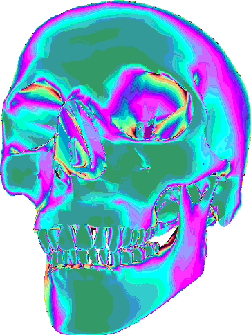 Trippy transparent aesthetic. Skull psychedelic holographic report