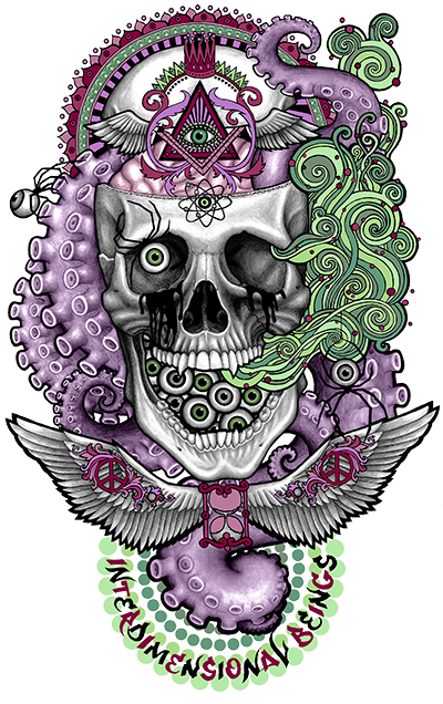Drawing trippy skull. Shirt on behance
