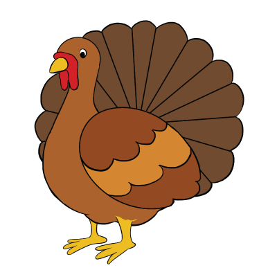 Pictures group with items. Drawing turkey realistic image stock