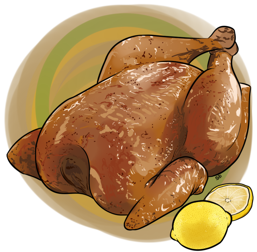Drawing turkey cooked chicken. Rotisserie by eveeoni on