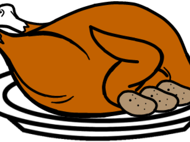 Drawing turkey cooked chicken. Cooking a clipart black