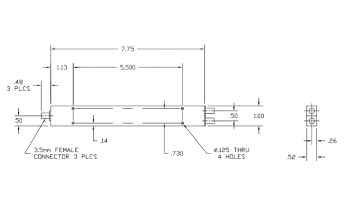 Drawing tv rectangle. Thermal vac qualified way