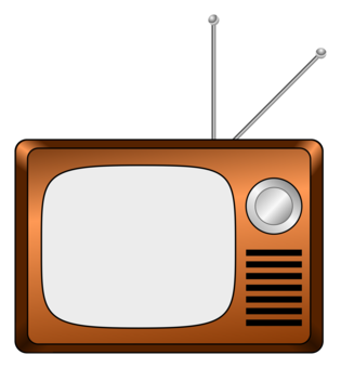Drawing tv rectangle. Color television vintage free