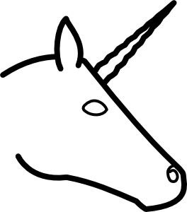 Drawing unicorns head. Unicorn profile clip art