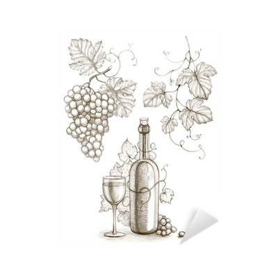 Drawing values pencil. Of wine bottle and