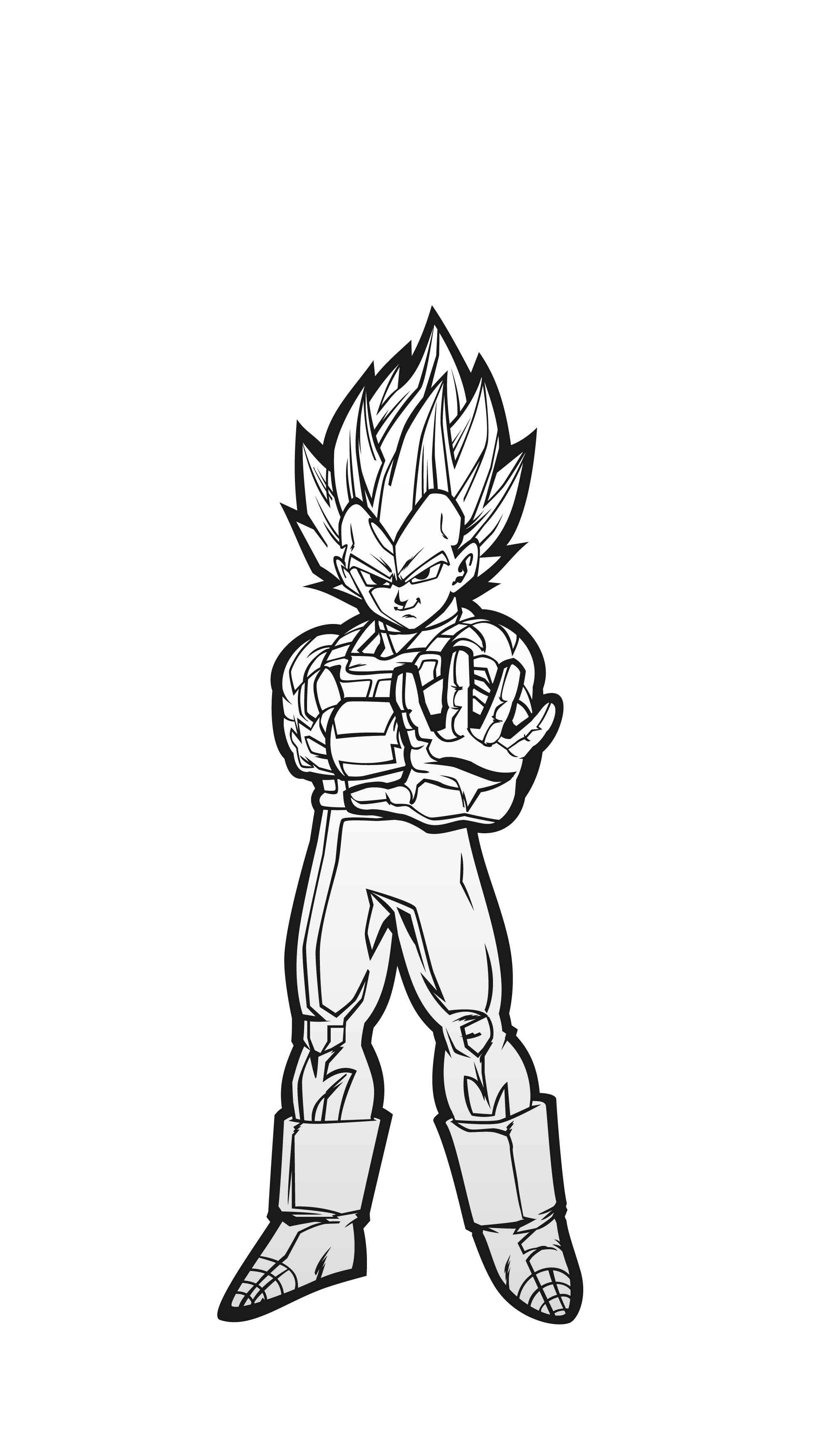 Drawing dbz black and white. Super saiyan vegeta figpin