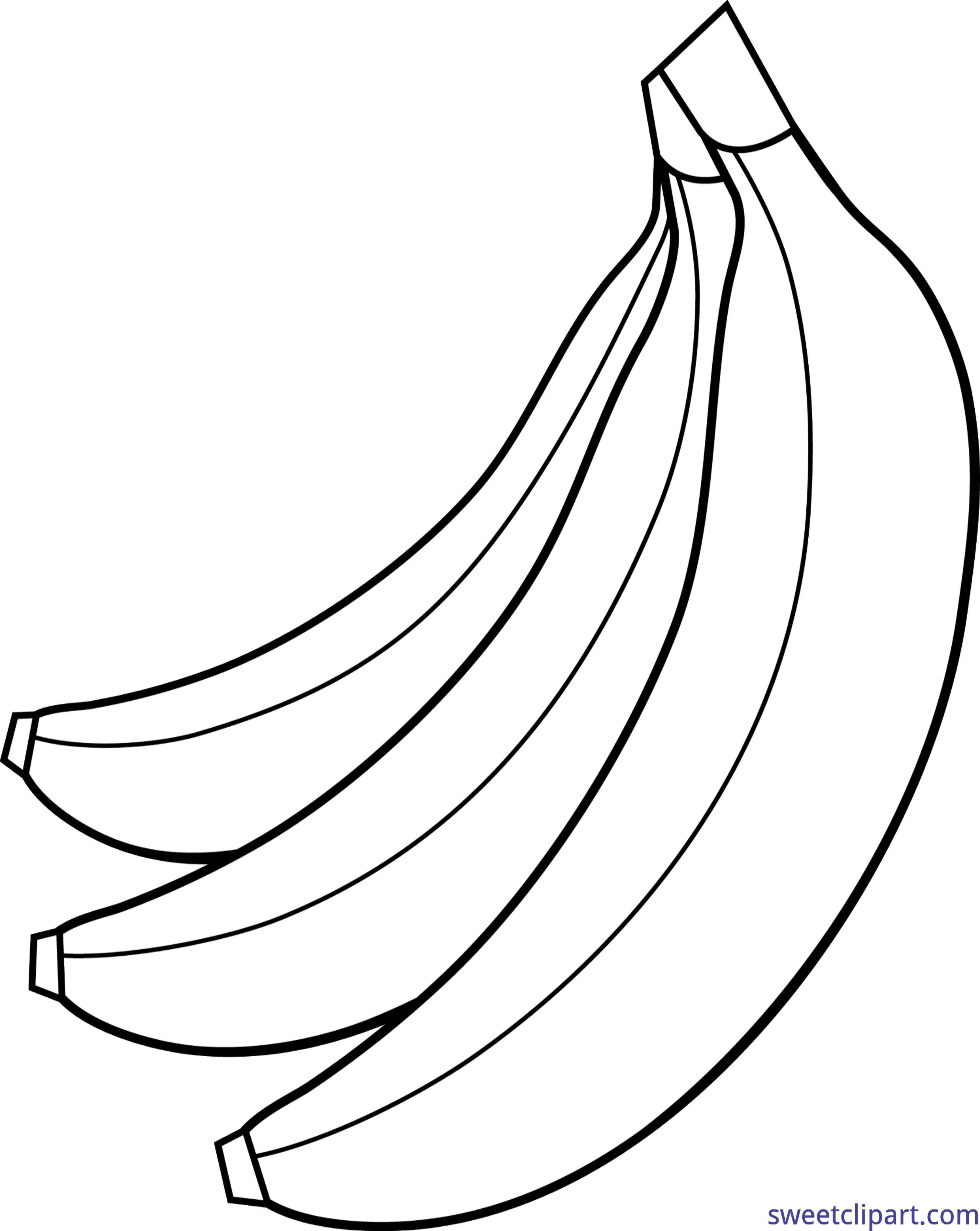 Drawing vegetables bunch. Bananas lineart clip art