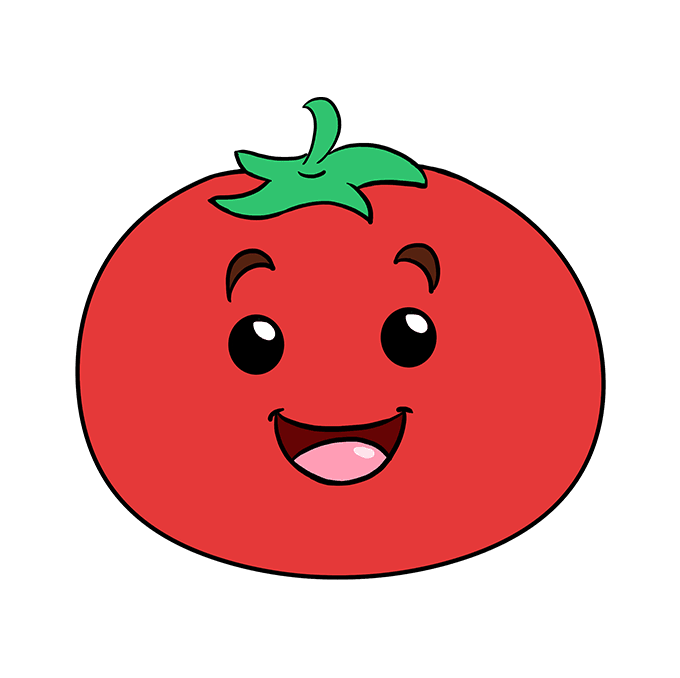 Tomatoes drawing cartoon. How to draw a