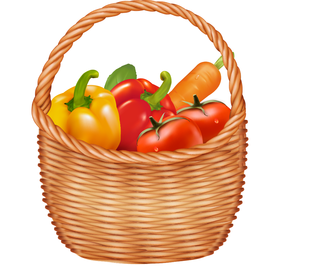 Drawing vegetables realistic. Vegetable basket clipart at