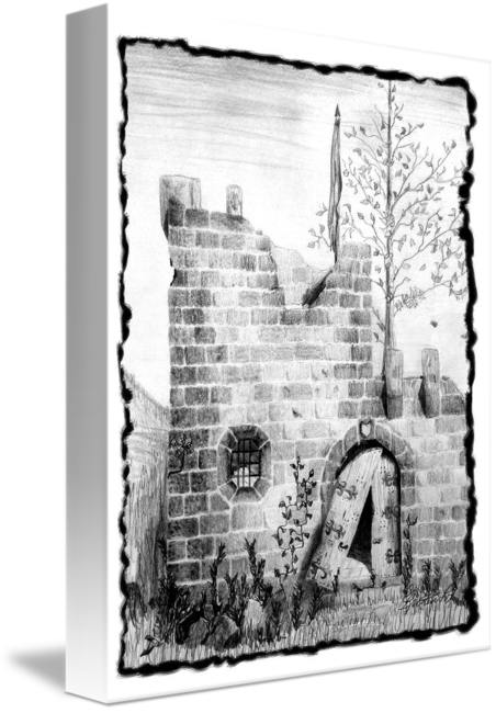 Drawing wall crumbling. Castle by kristen fox