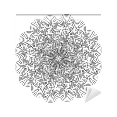 Drawing wall optical illusion. Decorative mandala with lines