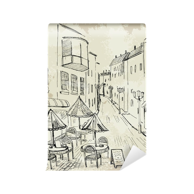 Drawing wall sketch. Collection of free cafe