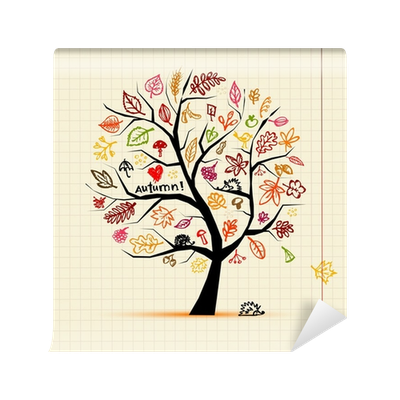 Drawing wall sketch. Autumn tree for your