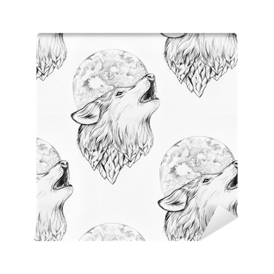Drawing wallpapers. Seamless of a wolf